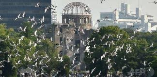Palomas volando para conmemorar la paz tras la celebración del 70º aniversario del bombardeo de Hiroshima