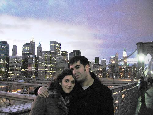 Juntos en el puente de Brooklyn, al atardecer de un frio dia de enero de 2008