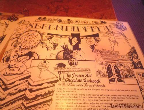 Carta con la historia del Frrozen Hot Chocolate