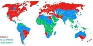 Mapa del mundo con los países que aplican el cambio horario en verano