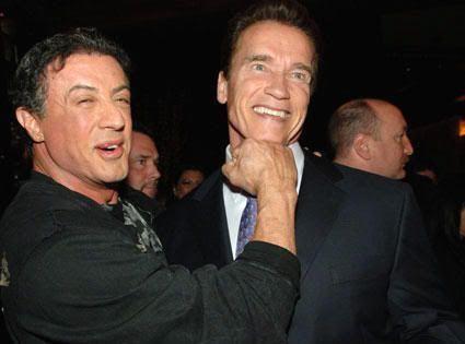 """Sylvester y Arnold bromean en la premiere de """"Los Mercenarios"""" (""""The Expendables, 2010)"""