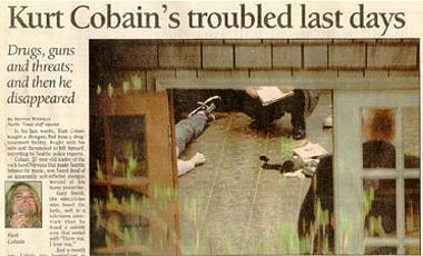 Noticia del suicidio de Kurt Cobain