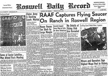 Incidente de Roswell (Nuevo México). Titulares de prensa. Año 1947