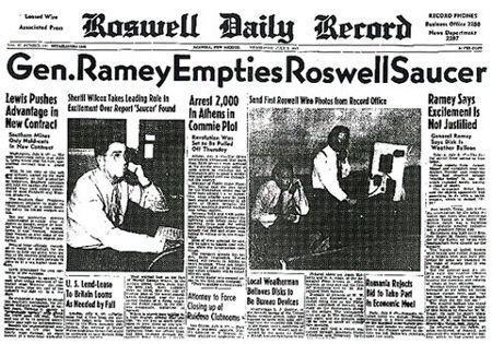 Incidente de Roswell (Nuevo México). Titulares de prensa