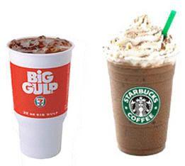 Bebidas gigantes en Estados Unidos. Big Gulp y Trenta de Starbucks