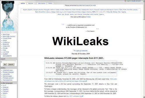 Pantalla de wikileaks