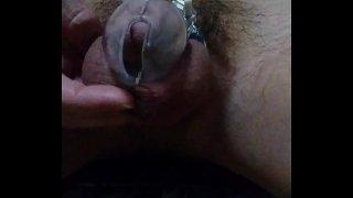 Japanese boy's chastity belt, masterbation and cum