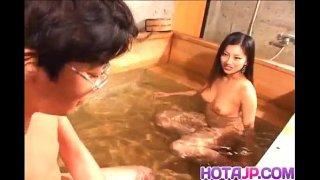 Ran Asakawa with hot jugs gives blowjob and is fingered at pool