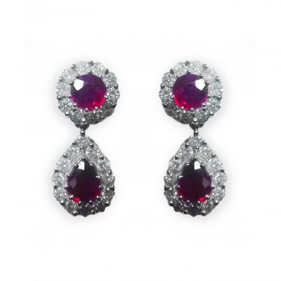 18ct White Gold Ruby & Diamond Drop Earrings