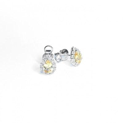 18ct Yellow Gold Yellow Sapphire & Diamond Earring