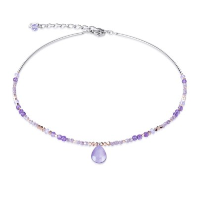 Coeur De Lion Lilac Swarovski® Crystals and Amethyst Drop Necklace