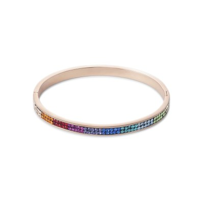 Coeur De Lion Rose Gold-Plated Multicoloured Crystal Bangle