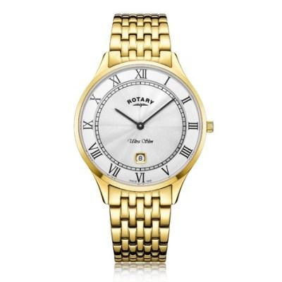 Rotary Ultra Slim Gold Plated Quartz Watch