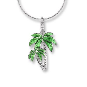 an image of a nicole barr silver & white sapphire palm tree pendant