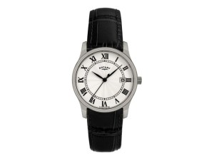 Rotary Men'S Classic Black Leather Strap Watch