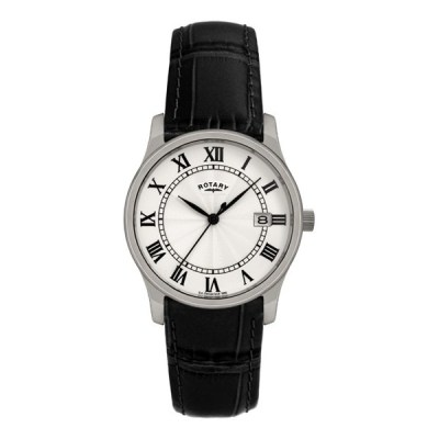 Rotary Mens Classic Black Leather Strap Watch