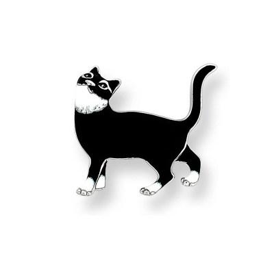 Nicole Barr Sterling Silver & Enamel Cat Brooch