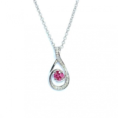 18ct White Gold Ruby & Diamond Pendant