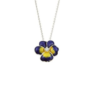 an image of a nicole barr sterling silver and enamel necklace