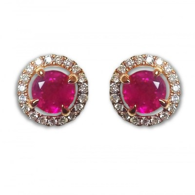 18ct Rose Gold Ruby & Diamond Cluster Earrings
