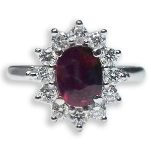 An image of 18ct White Gold Ruby & Diamond Cluster