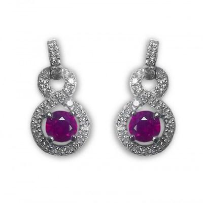 18ct White Gold Ruby & Diamond Earrings