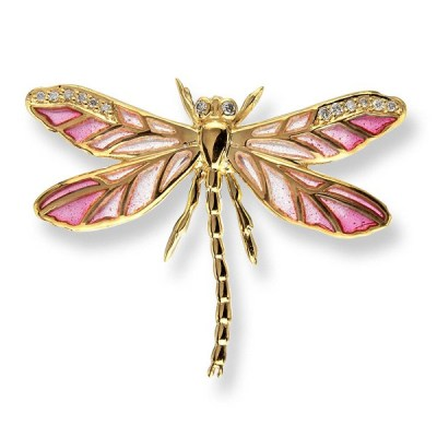 Nicole Barr 18ct Gold Enamel & Diamond Dragonfily Brooch