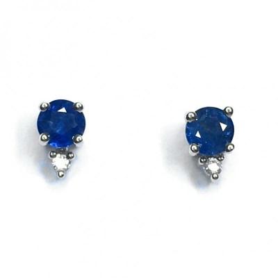 9ct White Gold Sapphire & Diamond Earring