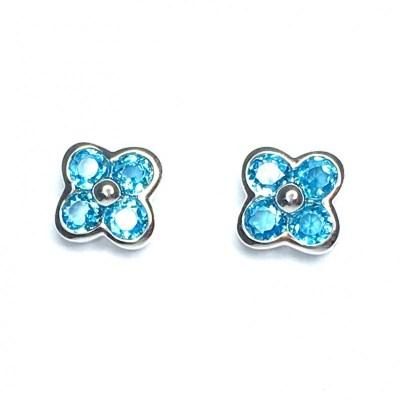 9ct White Gold Blue Topaz Earrings