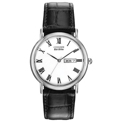 Gents Eco-Drive Black Strap & White Dial