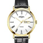 Rotary Gold Plated Windsor Watch W/ Black Strap