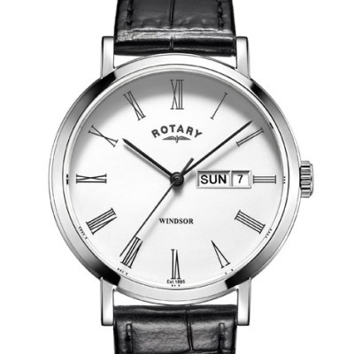 Gents Windsor Watch With Black Leather Strap