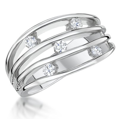 Silver Multi Band Cubic Zirconia Ring
