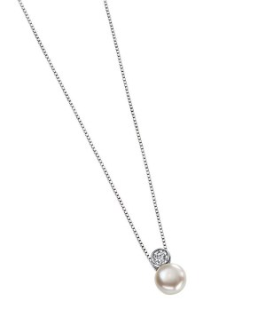 An image of a PEARL & CUBIC ZIRCONIA DROP PENDANT