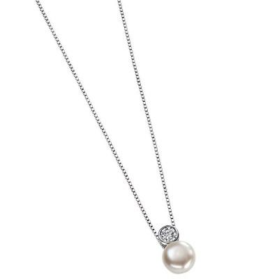 Pearl & Cubic Zirconia Drop Pendant