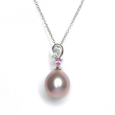 18ct White Gold Pearl, Diamond & Sapphire Pendant