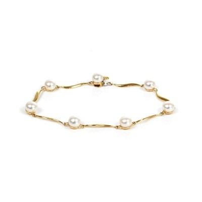 9ct Yellow Gold Pearl 'S' Link Bracelet