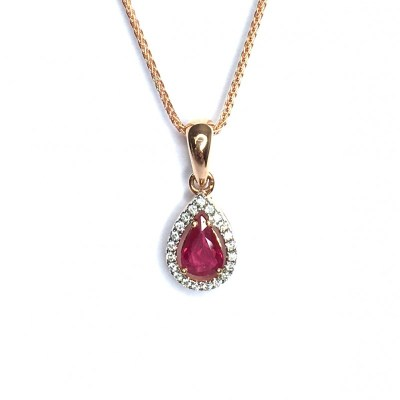 18ct Rose Gold Ruby & Diamond Pendant