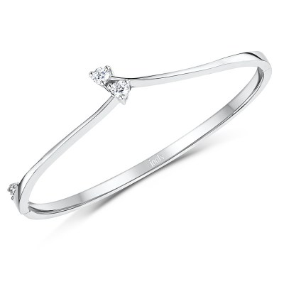 Silver Bangle with Two Crossover Cubic Zirconia