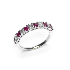 An image of 18CT WHITE GOLD RUBY & DIAMOND RING