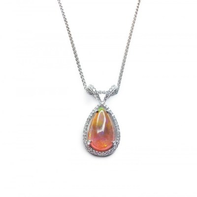 Ethiopian Opal & Diamond Pendant in 18ct White Gold