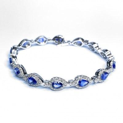 Sapphire & Diamond Bracelet in 18ct White Gold