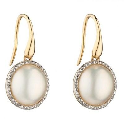 9ct Yellow Gold Mabe Pearl & Diamond Earrings