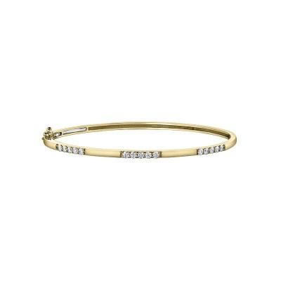 9ct Yellow Gold Pavé Diamond Bangle