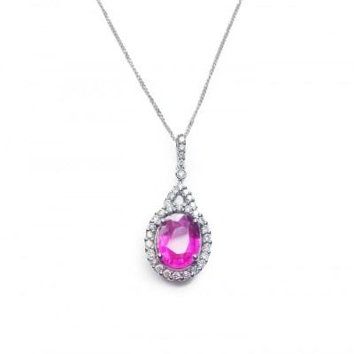 Pink Tourmaline & Diamonds Pendant in 18ct White Gold