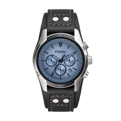 Coachman Chronograph Black Leather Watch