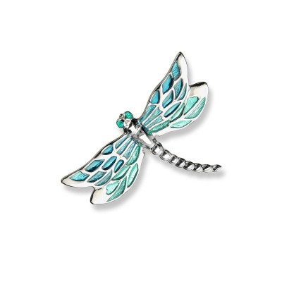 Nicole Barr Sterling Silver & Enamel Dragonfly Turquoise Brooch