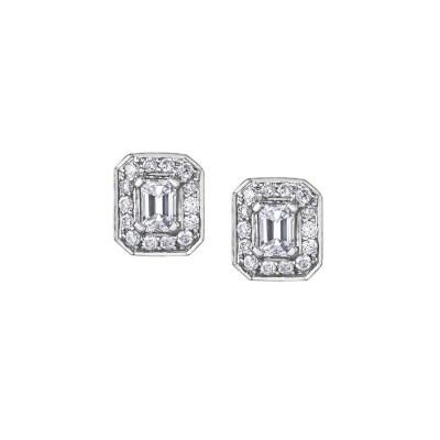9ct White Gold Emerald Cut Diamond Earrings