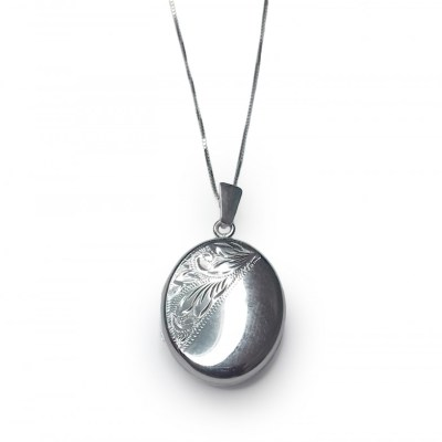 Oval Locket Pendant in 9ct White Gold