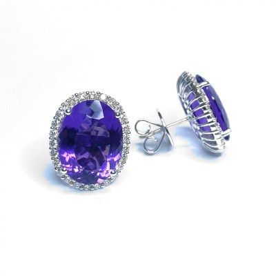 18ct White Gold Amethyst & Diamond Earrings